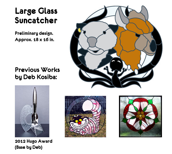 One-of-a-kind large Digger, Ed and Shadowchild stained glass suncatcher. See smaller pieces, below, for examples of glass colors used in previous pieces.