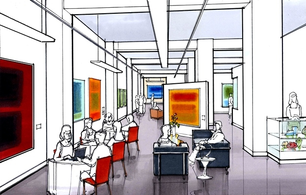 Rendering of the new gallery/café hybrid in the Park Pacific building in downtown St. Louis.