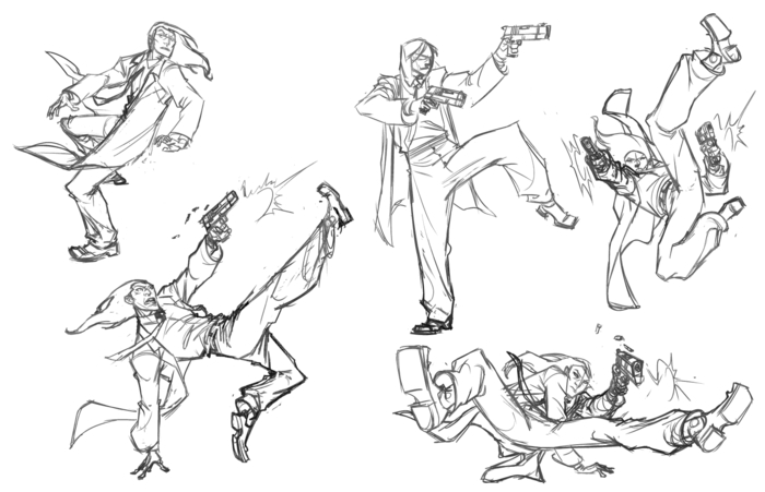 Some more Fang sketches.  I like to work out the character before I start a story.  How he moves, acts, etc...