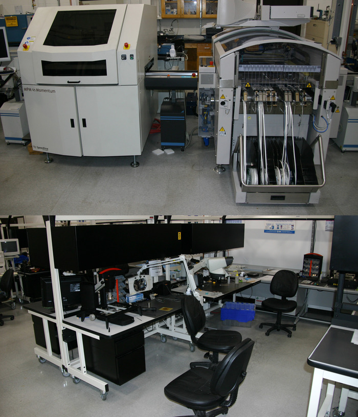 The RIT surface mount electronics lab is equipped with everything necessary for high-quality automated circuit board production