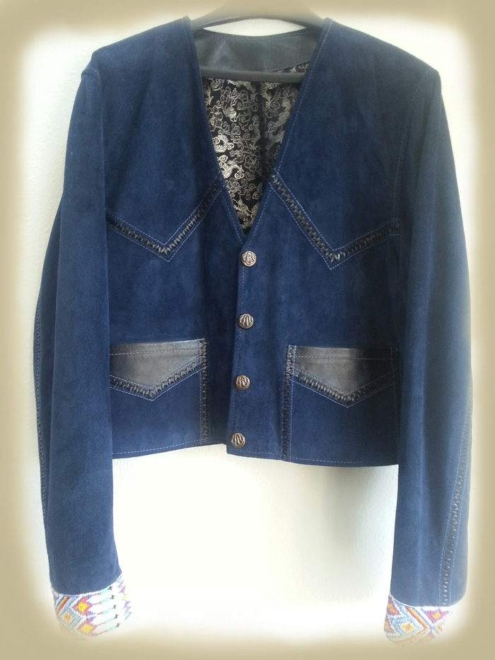 Blue Jacket with Authentic Native American Prayer Beads