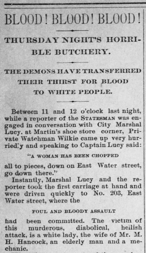"The notorious ""BLOOD! BLOOD! BLOOD!"" headline, announcing the Christmas Eve double murder of Susan Hancock and Eula Phillips."
