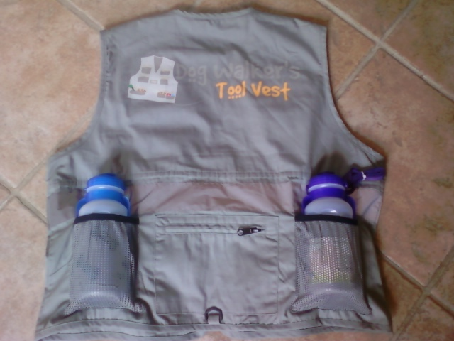 Prototype of back of vest.  I equipped my prototype with a dog water bottle and my bottle water.