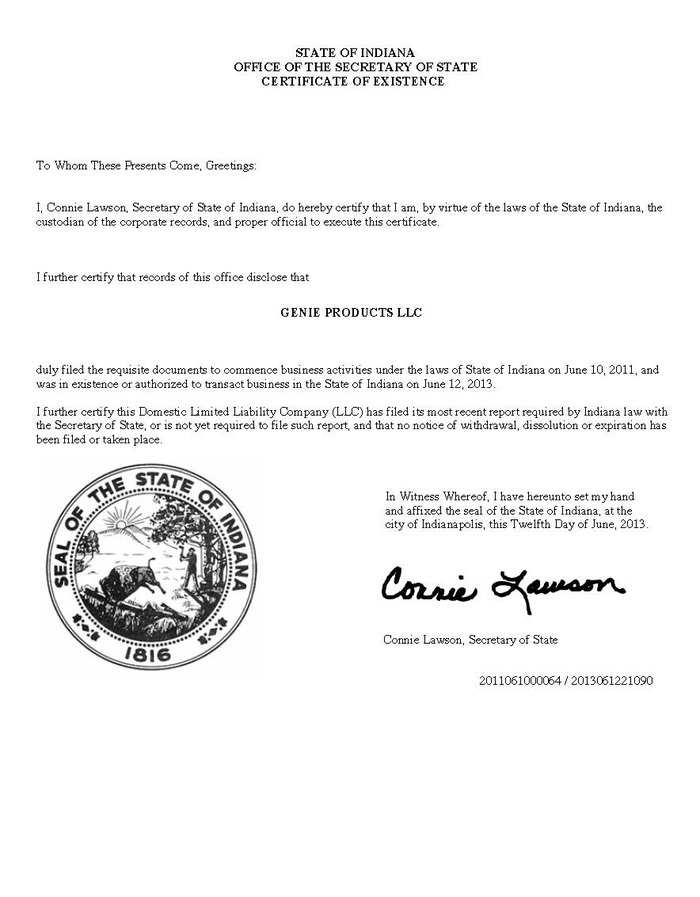Certificate of Good Standing State of Indiana