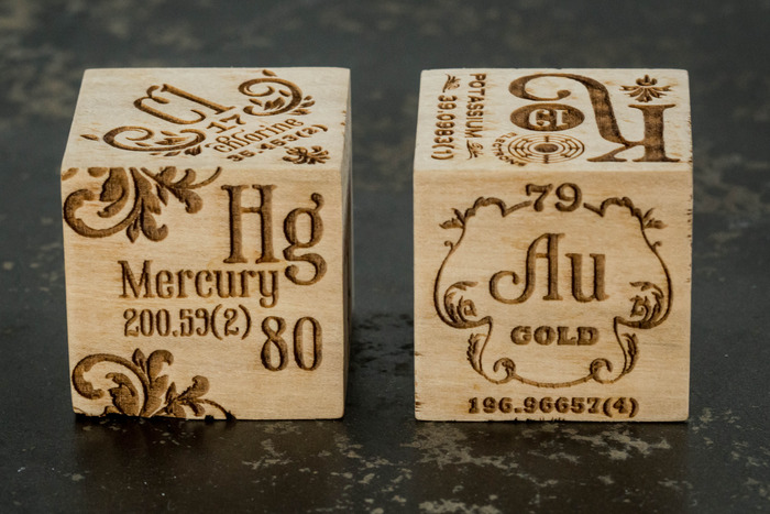 Etched wood Elements 4D blocks