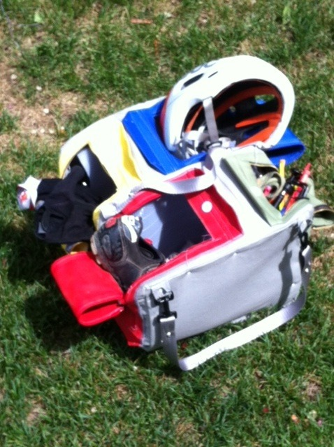TOP KIT Big Bag prototype 2 with bike gear in compartments