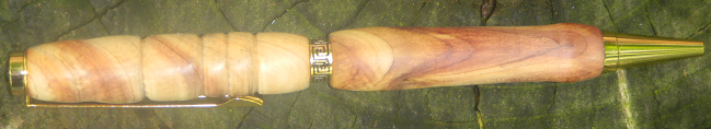 Cedar Wood Pen, with Designer Gold Hardware and a Complex Design.