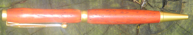 Bloodwood Pen, with Satin Gold Plated Hardware and a Simple Design ($30).