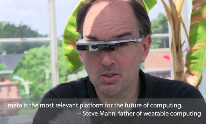 Steve Mann, Chief Scientist of meta, wearing his EyeTap prototype
