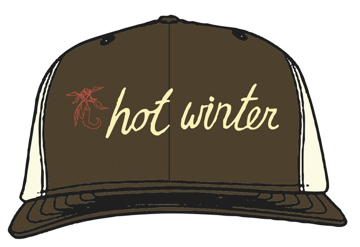 Hot Winter Script embroidered on 70% Organic Cotton / 30% recycled polyester