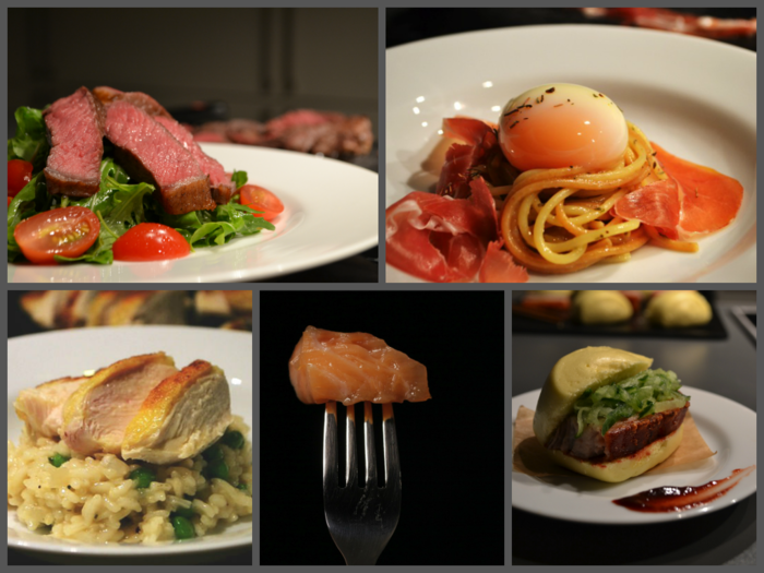 Clockwise from top left: Medium rare Steak with Rocket & Cherry Tomato Salad, Spaghetti Carbonara with 63°C/145°F egg, melt-in-your-mouth Pork Belly Buns, buttery 45°C/113°F salmon and tender Chicken Breast with creamy Pea Risotto.
