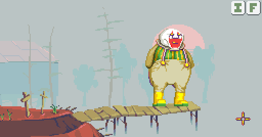 A screengrab of a recent prototype - Dropsy explores a hermit's island.