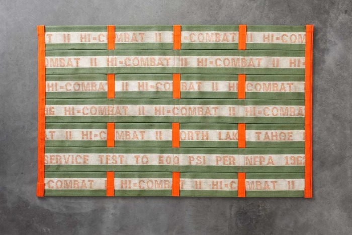 $175 or more: You'll receive a one-of-a-kind, hand-sewn 2x3' Fire Hose mat, at a very special Kickstarter price. (Suggested Retail: $239.) Features green and white embroidered stripe with Orange trim.