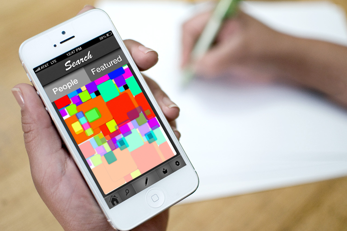 The current prototype featured screen. The colored squares represent each Sketch.