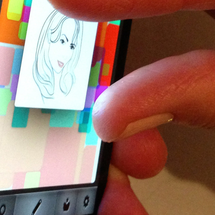 Zooming in on a sketch with the current feature screen prototype.