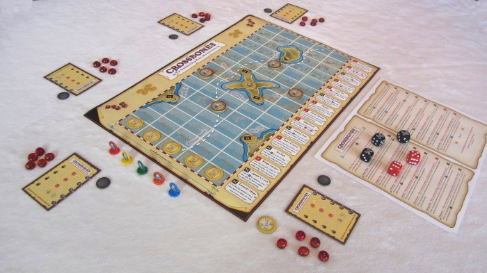 """A 5 player """"Landlubber"""" game setup. (Prototype Componets Shown)"""