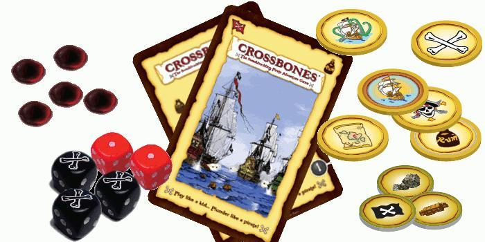 A prototype sampling of components and the Captain's Codex cards.