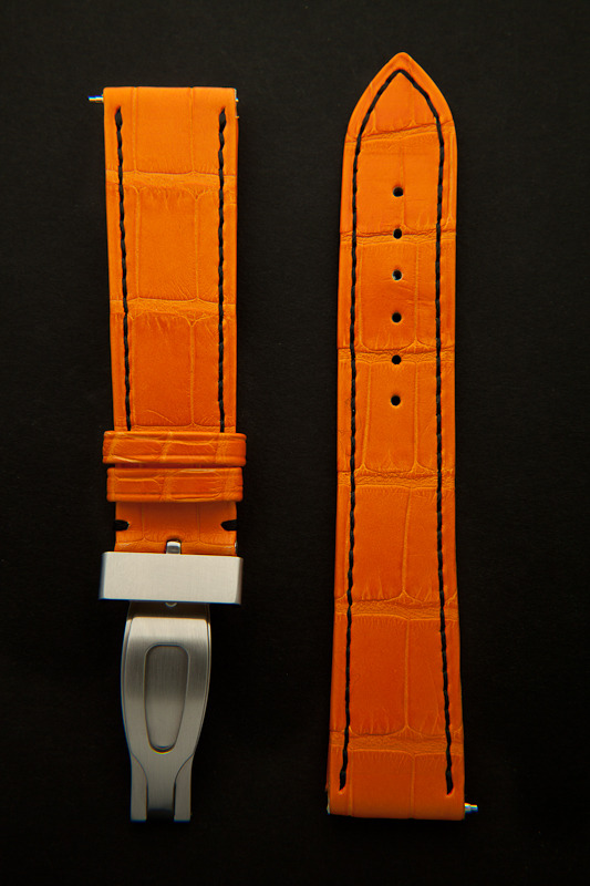 watchstrap in handstitched orange alligator leather from the craftsman Camille Fournet front view