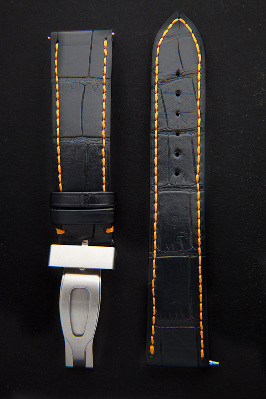 watchstrap handstitched black alligator leather from craftsman Camille Fournet front view