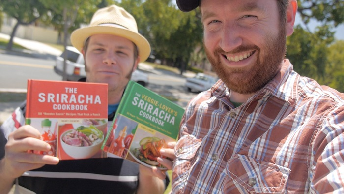 "Author Randy Clemens and director Griffin Hammond. For $35, choose* ""The Sriracha Cookbook"" or ""The Veggie-Lover's Sriracha Cookbook"" autographed by Randy Clemens."