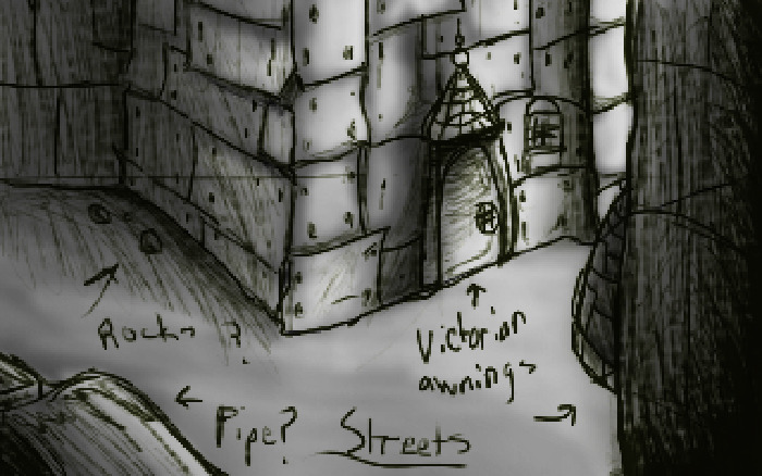 """cosmos streets"" backround sketch"