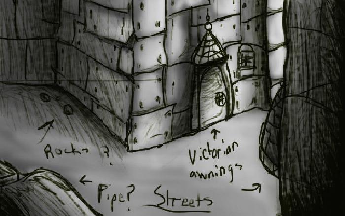 """cosmos streets"" backround sketch"