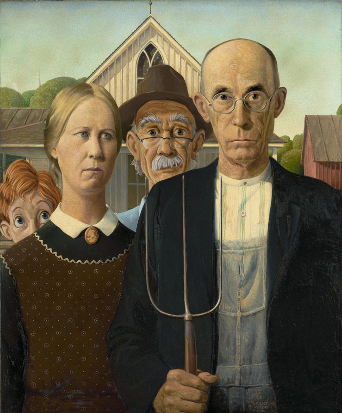 "Walt and Grandpa photo bomb ""American Gothic.""  (Concept painting only)"
