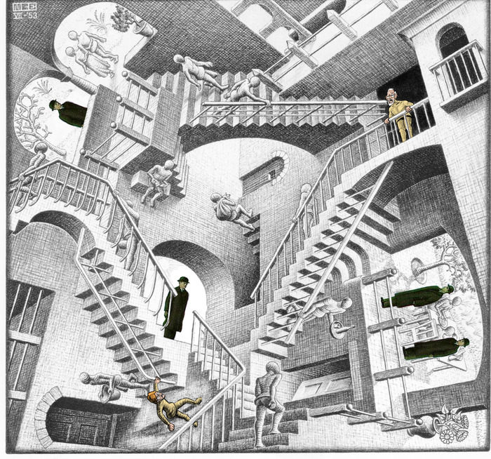 Walt and Grandpa corned in an Escher! (Is there a way out of an Escher?)