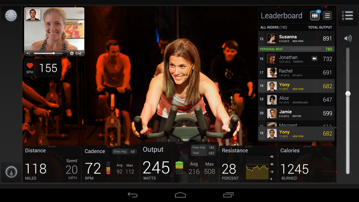 The in-class interface with live video chat (note top left corner)