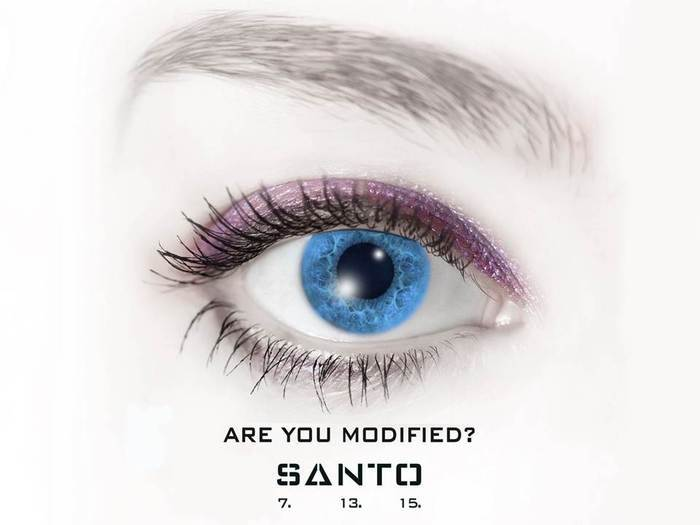 "The ""7. 13. 15."" in the image of the Santo poster represents the corresponding alphabet's letter. In SANTO 7.13.15's dystopian future of 2045, Santo uses this number in lieu of ""G.M.O."", as a number sounds less invasive."