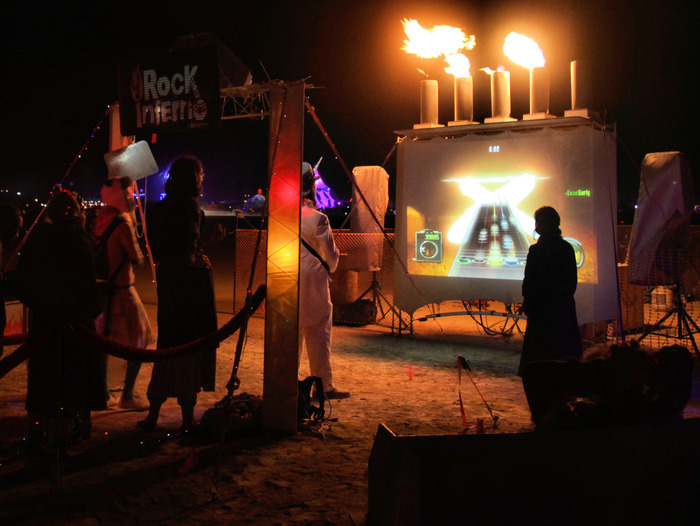 Rock Inferno is Guitar Hero that blasts fire when you strum the right notes. (Burning Man 2010 + 2011)