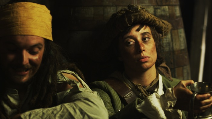 Screenshot from Through the Eyes of Men promo. The story of soldier turned pirate Mary Read.