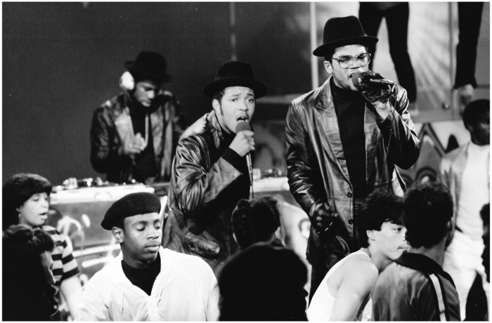 "Run–D.M.C. performing on ""Graffiti Rock"" Photo by Martha Cooper"