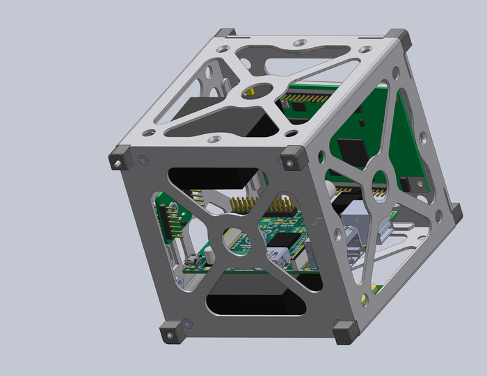 Here is an early SolidWorks 3D CAD model of one of the 1U modules that will make up LunarSail. This is just a conceptual model, of course.