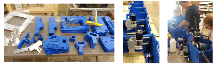 Production of first 6 Handibot prototypes at ShopBot before the Bay Area Maker Faire (5/13).