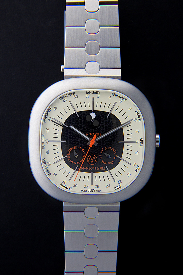 reward 5000 US$ Canopus Weekplanner watch Model CWP01 dial black and ivory with metal strap