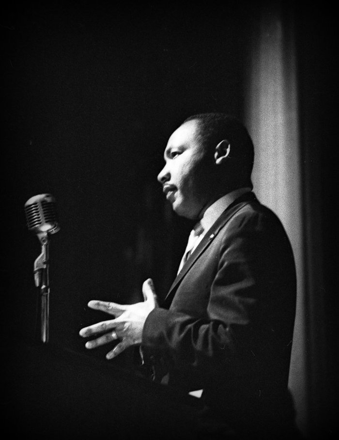 Martin Luther King Jr. speaking at the Riverdale Country School
