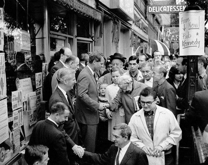 Robert Kennedy campaigning for Senator in New York.