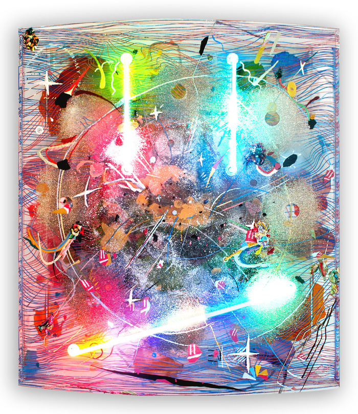 A larger mixed media painting with neon (a part of the $2,200 pledge)