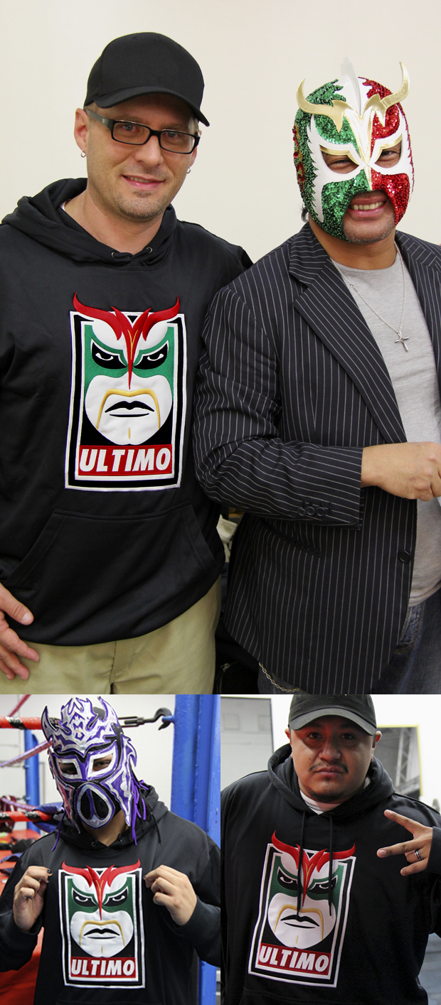 Gary Lee Jackson with Último Dragón and Stars of the WPW wearing Último Dragón OBEY-inspired Hoodies!
