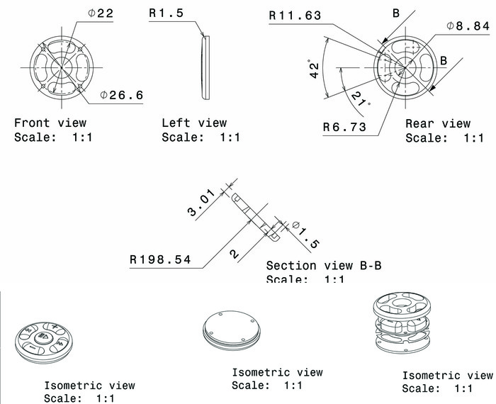 Technical drawings of natural tagua nut bezel or button housing