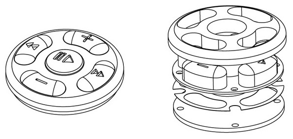 Isometric view of button unit and housing
