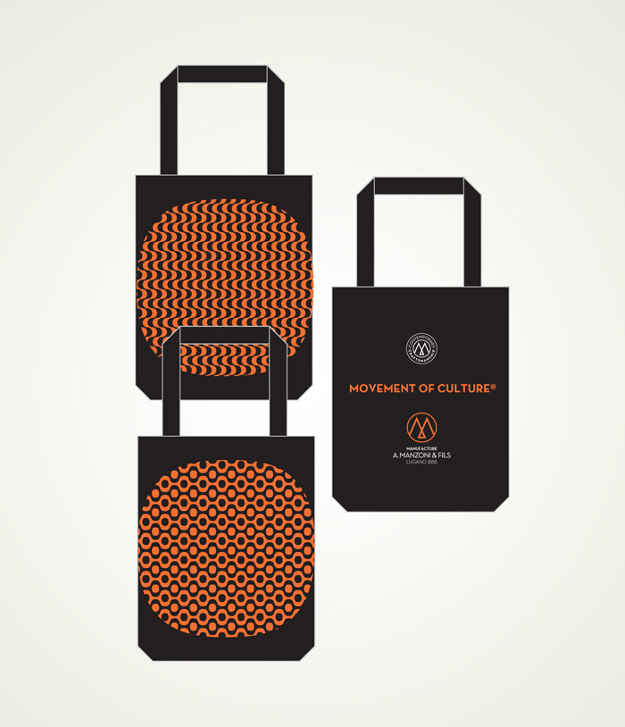 reward US$75 totebag orange on black Copacabana waves or bubbles one side A.Manzoni & Fils Logo other side, size 35cm(13.7 inches) high + 20cm(7.87 inches)handle, 37cm(14.5 inches) large