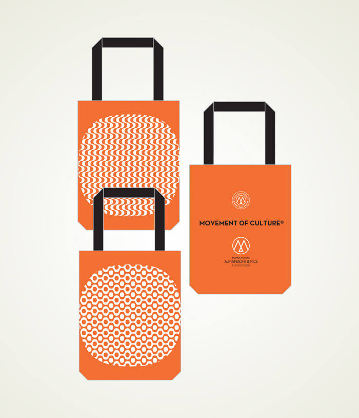 reward US$75 totebag white on orange Copacabana waves or bubbles one side A.Manzoni & Fils Logo other side, size 35cm(13.7 inches) high + 20cm(7.87 inches)handle, 37cm(14.5 inches) large