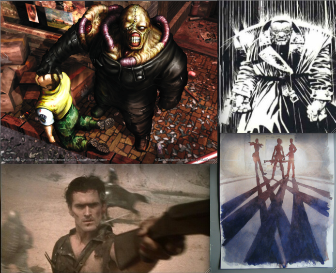 Some of our influences. Clockwise from the top left: Resident Evil III: Nemesis (Capcom), Frank Miller's Sin City, Brian K. Vaughn's Y: The Last Man, and Sam Raimi's Evil Dead II