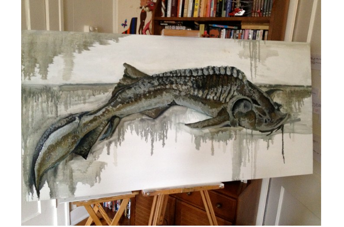"SMOKING STURGEON (in progress) - painting done by ""Luchi,"" as well as a reward given the appropriate donation to TINY OCEAN"