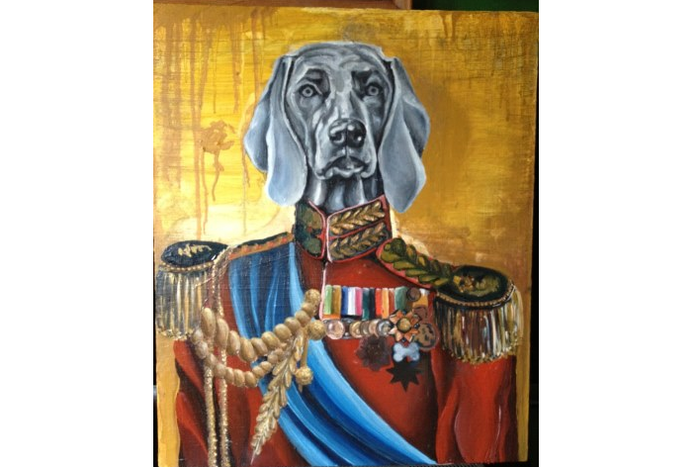 Luchi's Heroic Weimaraner Portrait (in progress) can be yours to own with the appropriate donation to TINY OCEAN!