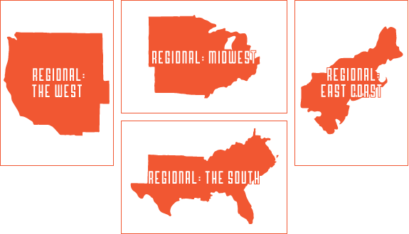 Regionals: four options for regional digital prints are available
