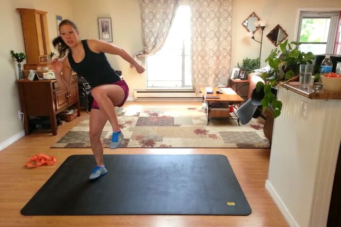 (Click to watch video) Emily doing P90X on Pogamat.  More videos below.