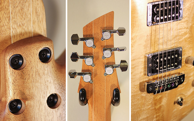 Prototype Details | Neck mount, headstock, and hand-polished plates